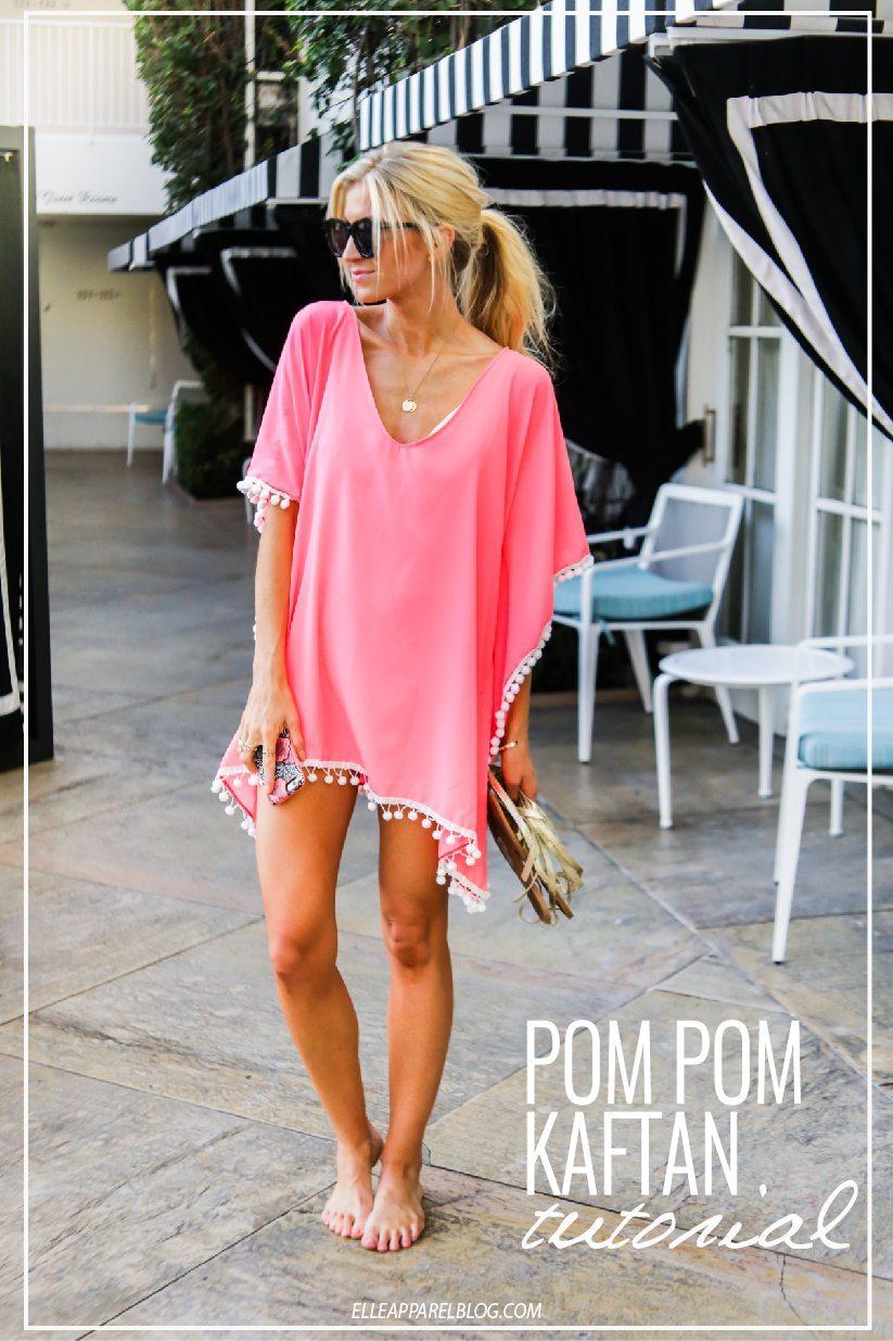 Pink Pom Pom Trim Kaftan Swim Cover Up Tutorial.