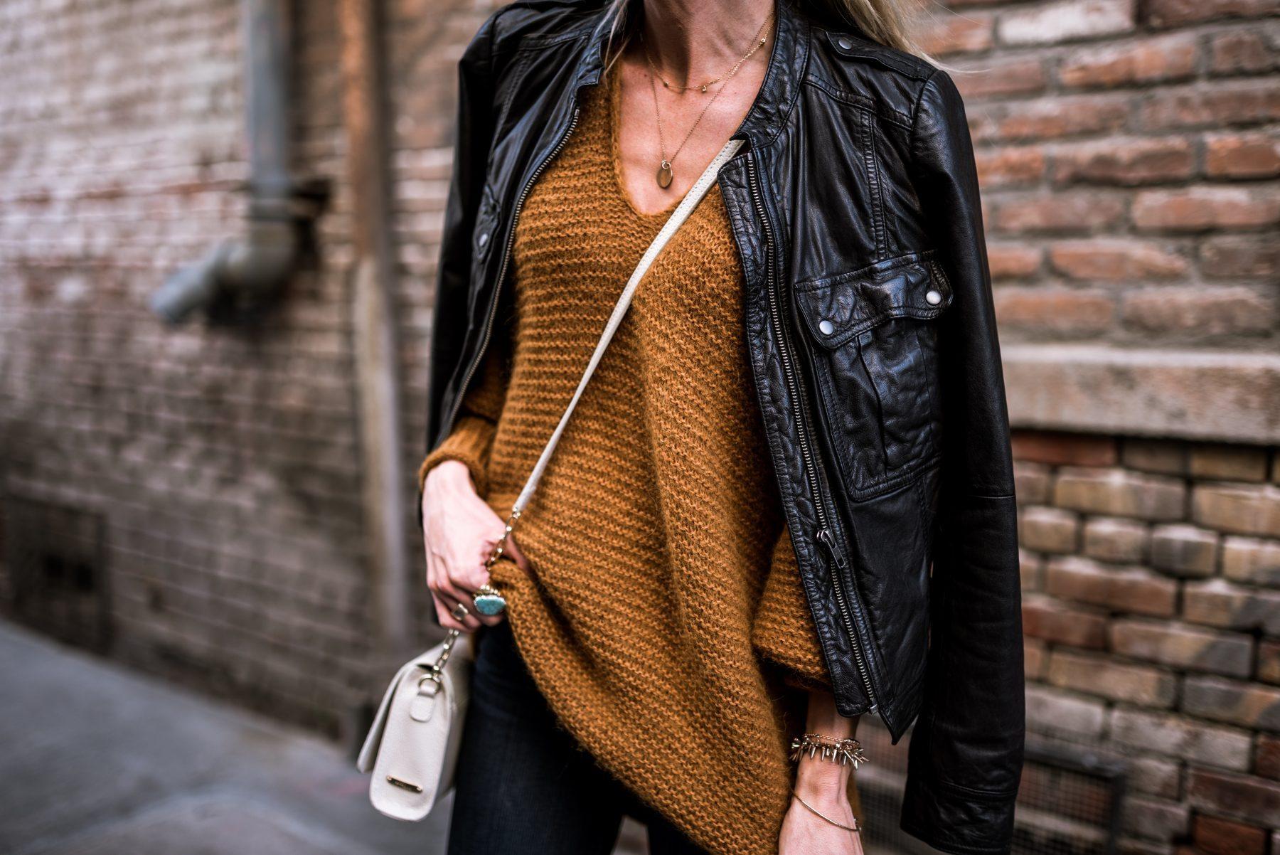 Mustard oversized sweater + black leather jacket