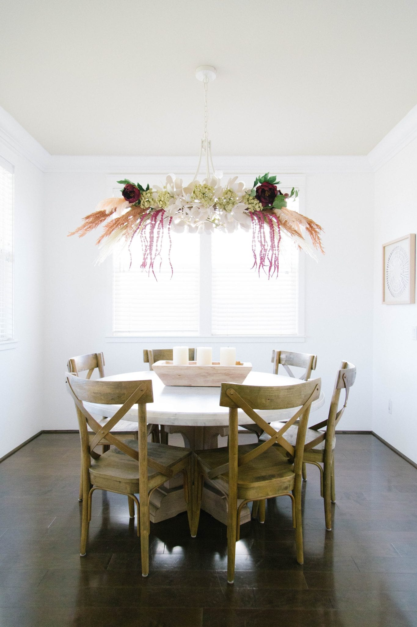 Fall Floral Pampas Chandelier Decor Tutorial