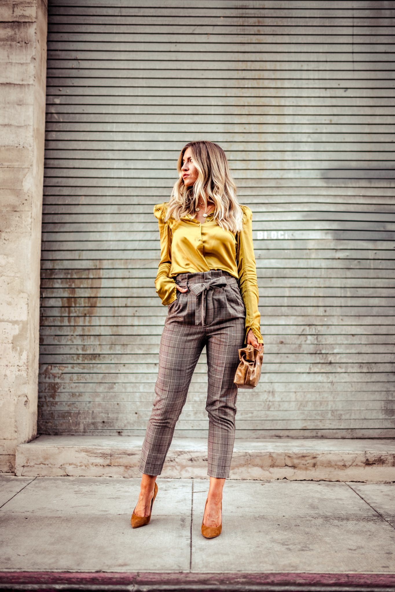 Chartreuse blouse + trousers