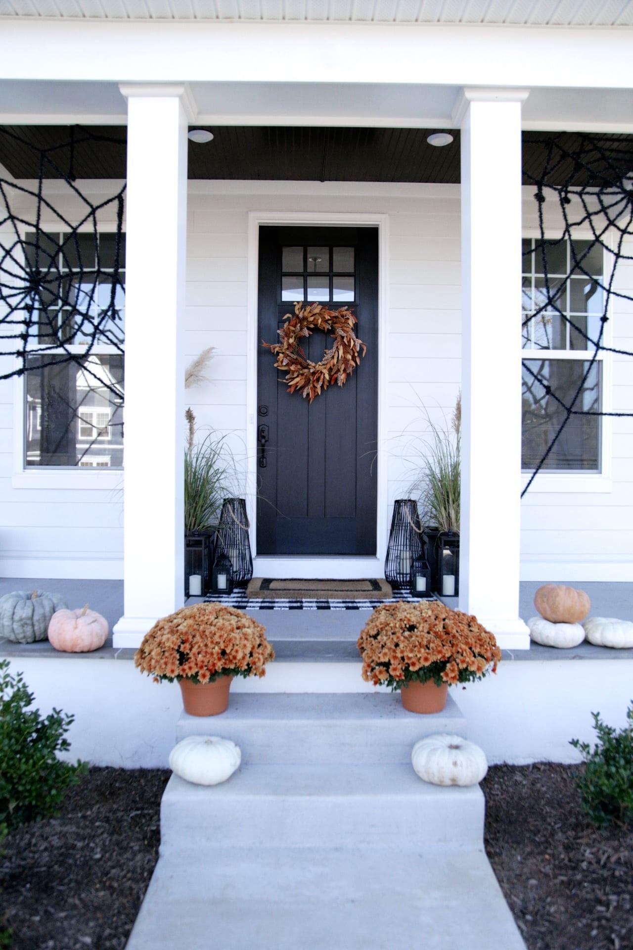 Halloween porch decorations spiderweb Leanne Barlow