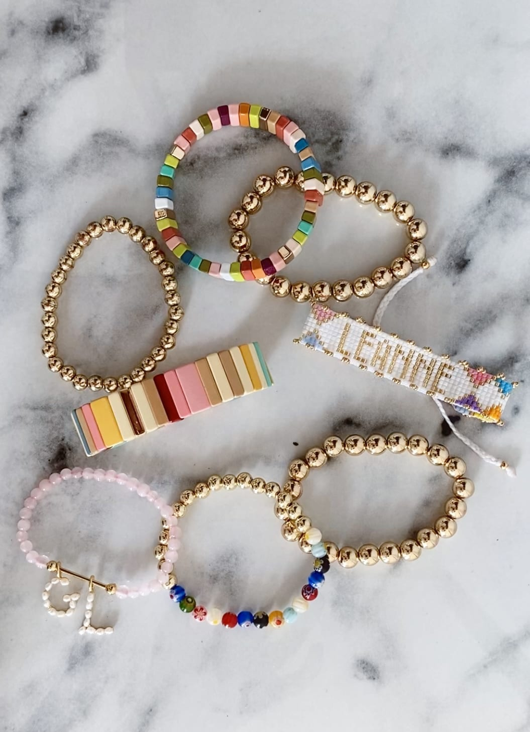 Colorful stacked bracelets