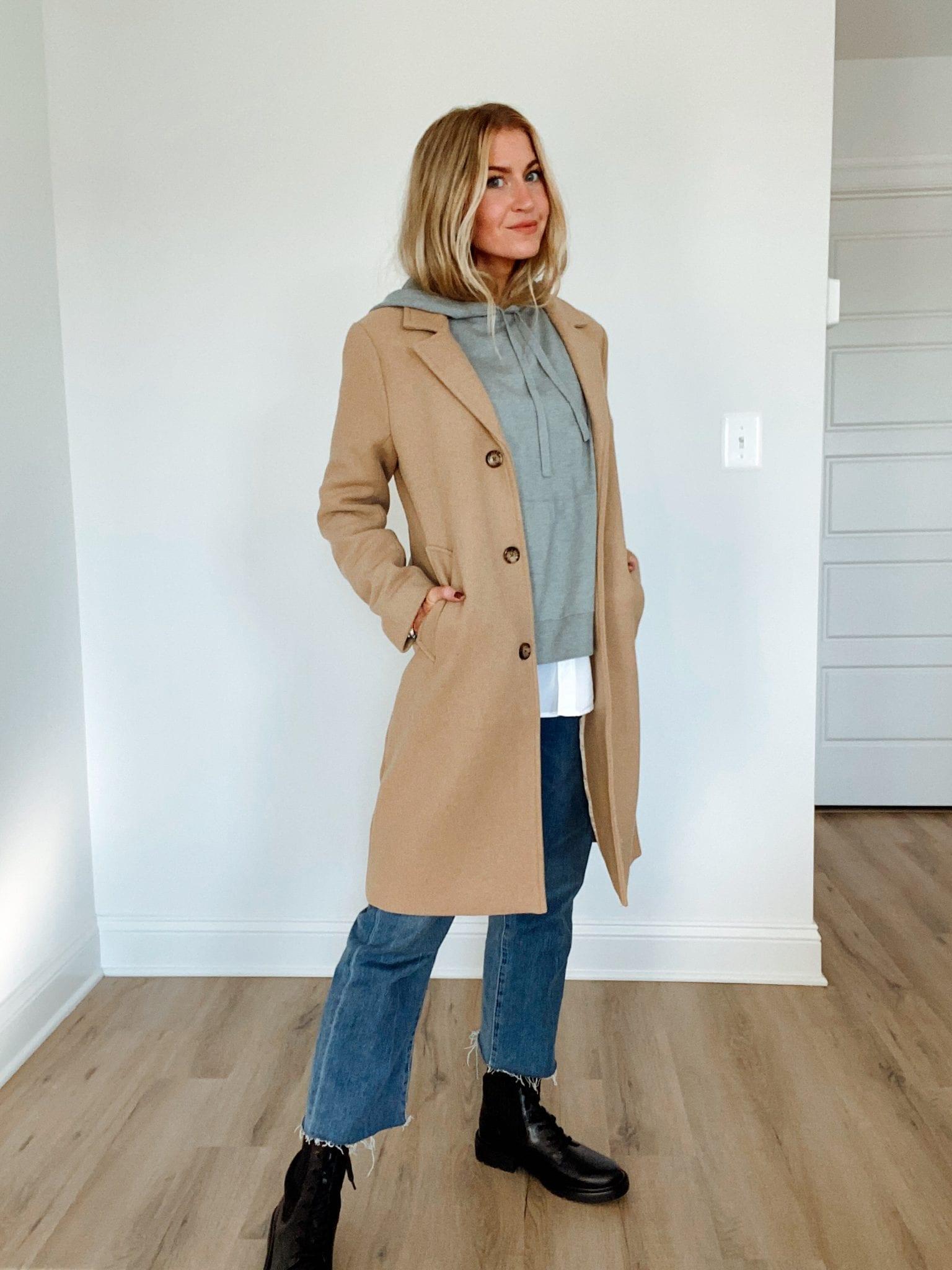 Daily Look: Sweatshirt + camel coat + combat boots
